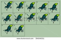 cartoon vector glow-worm animation fly. Game icon funny flying insect. Vector design for app user interface.