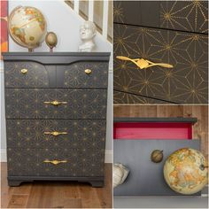 Chic, custom, and... affordable? Have it all with furniture stencils and paint! DIY decor and painted furniture projects with pretty pattern - Royal Design Studio stencils
