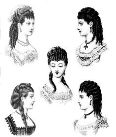 Hairstyles appropriate for evening wear, from 'Les Modes Parisiennes', 1870.