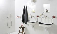 Inspiration für die Badezimmer Renovierung: Ideen für Bäder mit Fliesen und Armaturen in schwarz und weiß