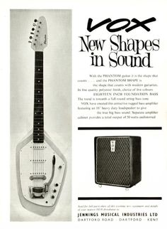 Vox Phantom guitar and Vox amplifier advertisement from the 60's.