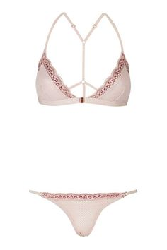 Two-Tone Lace Triangle Bra and Knickers