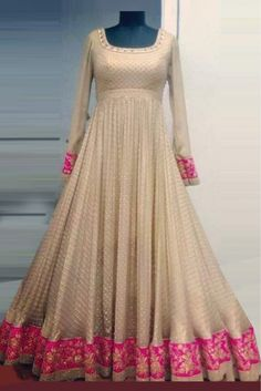 This Exclusive Anarkali Suit Is An Ultimate Party Wear Collection With The Mesmerizing Colours Of Off White With The Artistic Embroidery , Leave No Stone Unturned And Be At Your Fashionable Best. Bang...