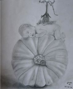 Drawing based on a photo of anne geddes.  Drawing made in 2011