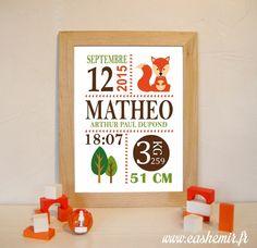 Cadeau naissance, stats de naissance, décoration chambre bébé garçon - Fichier Imprimable - n°22 renard : Chambre d'enfant, de bébé par cashemir