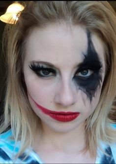 Halloween make up idea with black contact on black out side