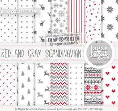 Red, gray, grey Scandinavian Nordic Christmas, Digital paper, Patterns, snow, tree, deers, hearts, ugly sweater, minimalist backgrounds