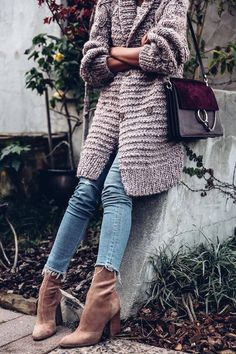Chunky knit sweater + mid calf boot.