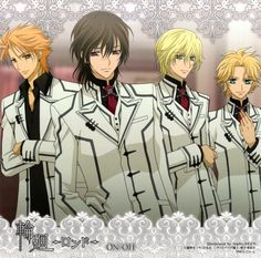 Akatsuki Kain, Kaname Kuran, Takuma Ichijo, and Aidou Hanabusa from Vampire Knight