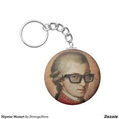 Hipster Mozart Classical Music Basic Round Button Keychain from Hipster Gifts, Round Button, Custom Buttons, Classical Music, Cool Designs, Hipsters, Personalized Items, Prints, Color