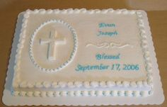 Ashley - what do you think? Baptism Cake - Buttercream frosting, reverse shell border, oval with white chocolate cross, shell border and blue dots, scroll work from a pattern press. Baby Boy Baptism, Boy Christening, Baptism Party, Baptism Ideas, Baptism Reception, First Communion Cakes, First Holy Communion, Baptism Sheet Cake, Baptism Cakes