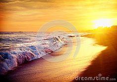 Beautiful Sea Sunset Beach Stock Images - Image: 35339614