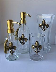 Exceptional LUX Crystal Embellished Fleur De Lys Bathroom Vanity Collection 💕SHOP💕  Www.crownjewel.