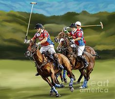Polo Players during a game.  Hi everyone, I am new to this site. I am painting everyday, so I will be uploading new work at least once a week. Take a minute to tell me what you think! Thanks!  See. More. On. F. A. A.