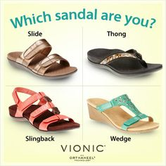 Vionic with Orthaheel Technology Sandals are a must this Spring and Summer! Which style are you?! Styles shown Left to right: Shore (Item No. 75116), Tide II (Item No. 75115), Amber (Item No.75121), Maggie (Item No. 75129) #sandal #heelpain #plantarfasciitis #vionic @FootSmart