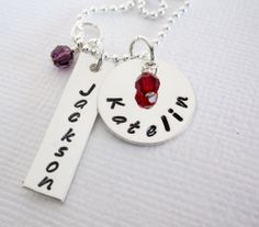 Mother's Necklace  Two Personalized Charms  by PatriciaAnnJewelry, $43.50