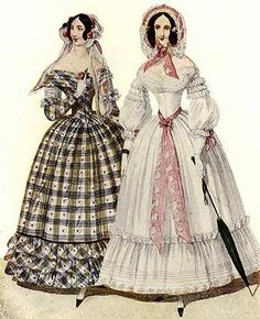 Day Dress fashion plate from Wiener Zeitschrift, July 1840  Sleeves were narrower and fullness dropped from just below the shoulder at the beginning of the decade to the lower arm, leading toward the flared pagoda sleeves of the 1850s and 1860s.