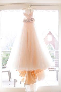 Blush Lazarro wedding dress   Photo by Annabella Charles Photography