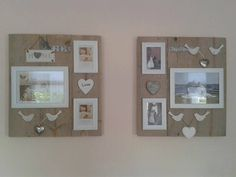 wandbord met fotolijstjes Picture Holders, Pallet Crafts, Photo Displays, Wood Pallets, Home Projects, Picture Frames, Diy Home Decor, House Styles, Inspiration