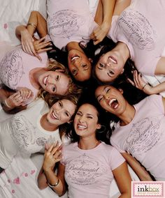 Cute idea for Bridesmaid Photo. Must find these shirts.