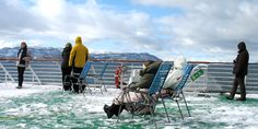 Relaxing out on deck. Winter on board MS Polarlys.