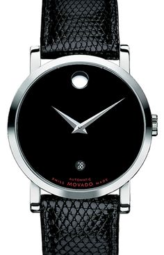 Red Label - Men's Red Label watch, stainless steel case, black Museum® dial with round date aperture, black genuine lizard strap, Swiss automatic movement.