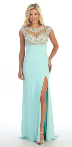 Aqua Applique Embroidered Jeweled Bodice High Slit Evening Gown - Discountdressup Store #promdress #promgown #eveninggown