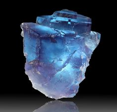 Electric blue and purple fluorite crystal