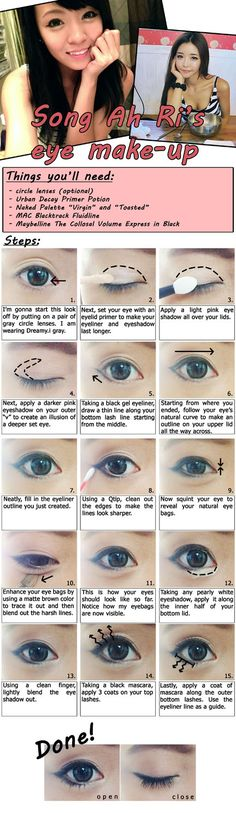"Ulzzang Song Ah Ri's MakeUp Tutorial-interesting! a very kpop look, especially the whole eyebag/love lid thing .. didn't know there was a ""technique"" to emphasize it"