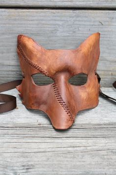 Leather Fox Mask with Scar Stitching.