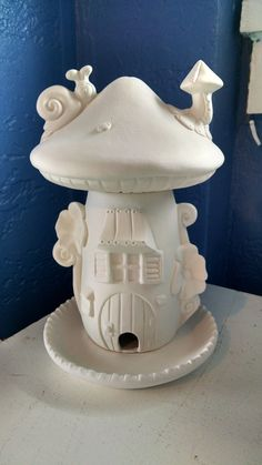 Large Elf or Fairy House and home Bird Feeder 3 parts unpainted ceramic bisque ready to paint DIY #144