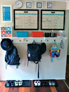"""Organizing idea for """"mudroom"""" area - like the shelf above the hooks for small baskets"""