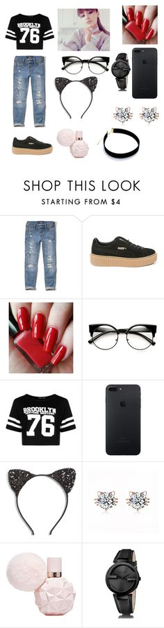 """Untitled #4"" by georgiana-ralupw ❤ liked on Polyvore featuring Hollister Co., Puma, Boohoo, Cara and Gucci"