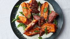 Such a unique prep for sweet potato. The yogurt is refreshing new twist! Roasted Sweet Potatoes with Chile Yogurt and Mint Recipe Sweet Potato Recipes Healthy, Crispy Sweet Potato, Healthy Thanksgiving Recipes, Thanksgiving Side Dishes, Roasted Sweet Potatoes, Thanksgiving Feast, Holiday Recipes, Thanksgiving Vegetables, Side Dishes