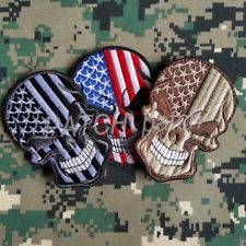 410c67cabcb 3PCS AMERICAN FLAG PUNISHER SKULL EMBROIDERED PATCH US ARMY MORALE BADGE  HOOK