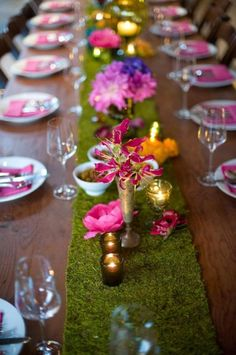 A beautiful mix of bolds colors and a green design with grass/moss table runner Rectangle Table Centerpieces, Wedding Centerpieces, Wedding Table, Wedding Decorations, Moss Centerpieces, Masquerade Centerpieces, Wedding Reception, Moss Table Runner, Table Runners