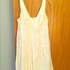 White floral pattern dress White knee length dress. Floral patter, comfortable fitting. Cotton type of material. Worn once, no snags, in great condition. Dresses Midi