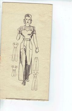 Vintage 1940s Womens Overalls or Playsuit and Cap Pattern, Anne Adams Sewing Pattern 4682,