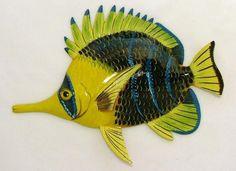 Needle Nose Tropical Fish TiKi Sea Life Wall Decor Blue Tip 6 inch