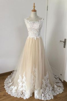 Champagne A-line tulle lace applique long prom dress, wedding dress #longpromdresses