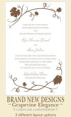 Printable Grapevine Vineyard Wedding Invitation Set Grapes