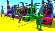 Color helicopter on cars with superheroes and spiderman cartoon for kids
