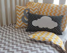 NEW Grey and Yellow Chevron Cot Quilt Cover, Baby Quilt Cover, Duvet Cover