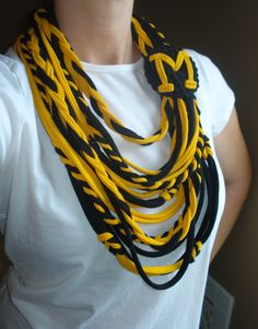 University of Missouri black and golden yellow tiger infinity scarf.  Upcycled T-shirt, cotton jersey knit fabric scarf, MIZZOU. $20.00, via Etsy.
