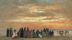 Scène de plage, Eugène Boudin, 1869.