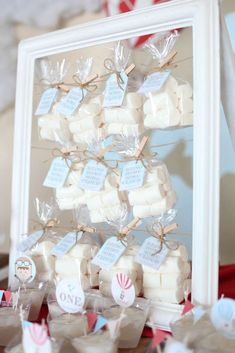 Marshmallow clouds at a rustic hot air balloon birthday party! See more party planning ideas at CatchMyParty.com!