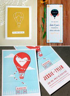 Hot air balloons and wedding invitations