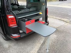Evo Design Rear Pod 2 With Table VW caravelle Murphy Bed Ikea, Murphy Bed Plans, Vw Kombi Van, Vw T5, Vw Caravelle, Camping Pod, Kitchen Units, Mini Kitchen, Camper Kitchen