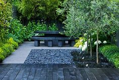 Stunning urban garden by Charlotte Rowe Garden Design- I dig the black layers of texture- Mondo, pebbles, and deck material. Backyard Garden Design, Small Garden Design, Backyard Patio, Small Gardens, Outdoor Gardens, Design Jardin, Black Garden, Contemporary Garden, Modern Landscaping
