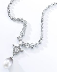 Natural pearl and diamond necklace, 19th century composite. Composed of a line of millegrain-set circular-cut diamonds, suspending a detachable pendant similarly set with a triangular, circular- and single-cut diamonds, and a drop shaped slightly gray to brown natural pearl, numbered. #antique #BelleEpoque #Victorian #necklace